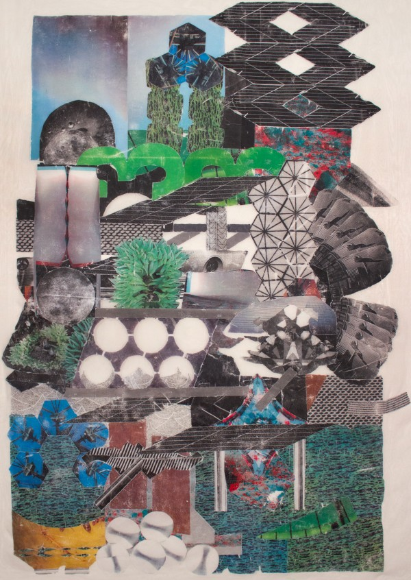 City Tower  62 x 53, image transfer on silk