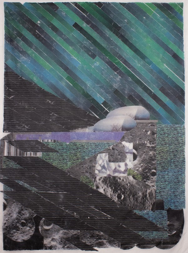 Cliff Dwellers  62 x 53, image transfer on silk