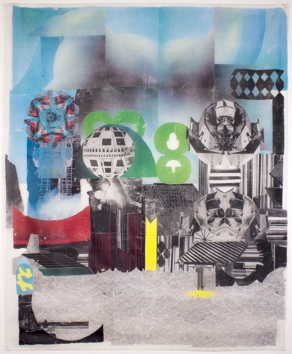 City Landing  62 x 53, image transfer on silk