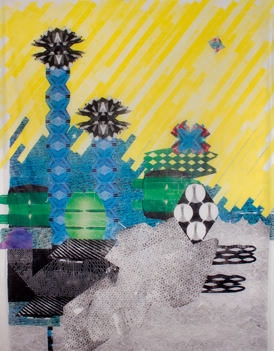 Yellow City  62 x 53, image transfer on silk