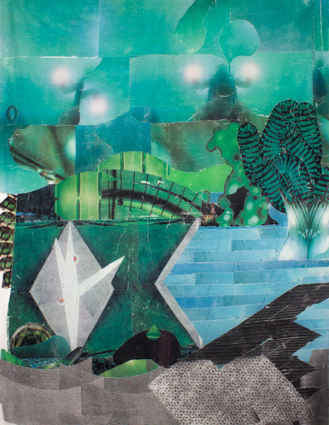 Garden City  62 x 53, image transfer on silk