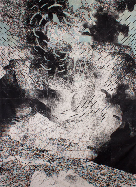 Night Tree Falls  62 x 53, image transfer on silk