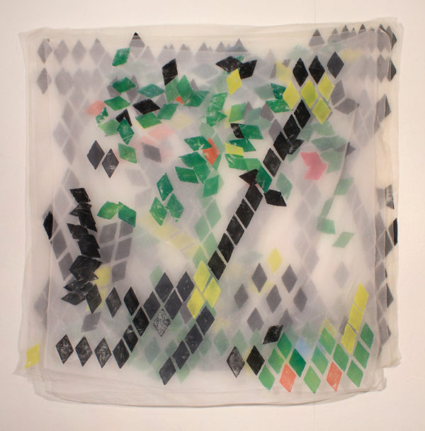 Diamond Thicket  42 x 48,  image transfer, silk and sewn elements