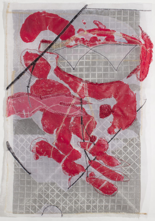 untitled (red)  24 x 18, image transfer, silk and sewn elements
