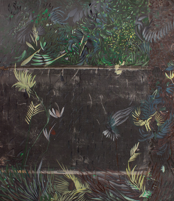 Black Garden Fence  22 x 19, image transfer, silk, wood, gouache