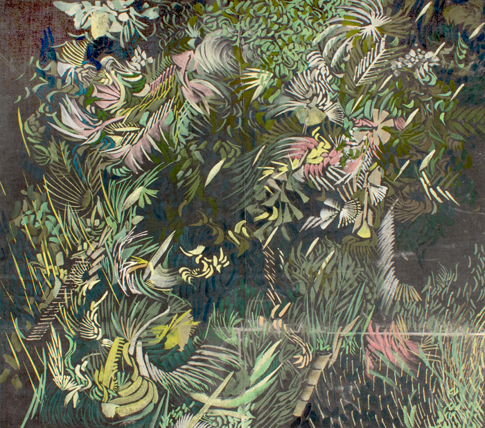 Black Garden Thicket  21 x 19, image transfer, silk, metal frame, gouache