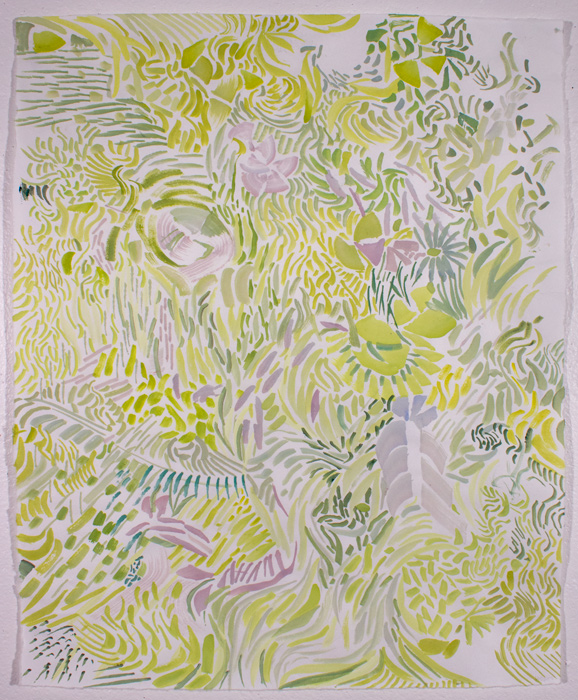 Green Forest, 21.5 x 16, gouache on paper