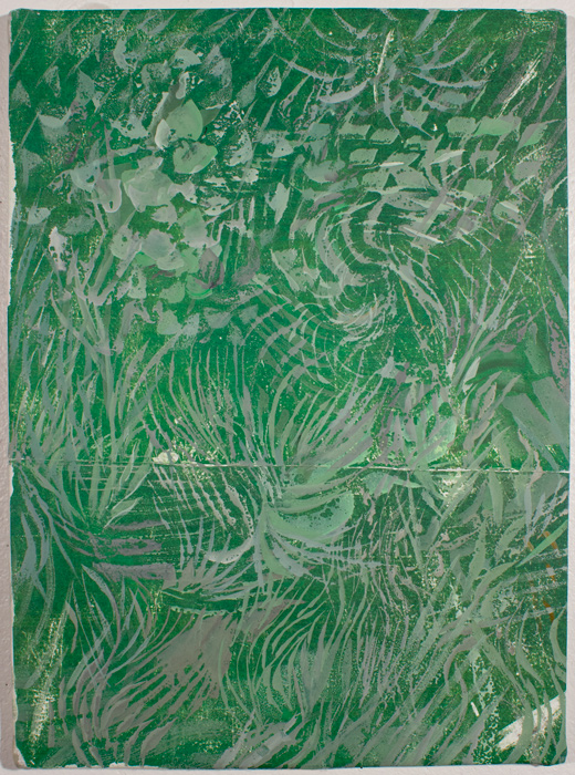 Green Garden Thicket  16 x 12, image transfer, silk, metal frame, gouache
