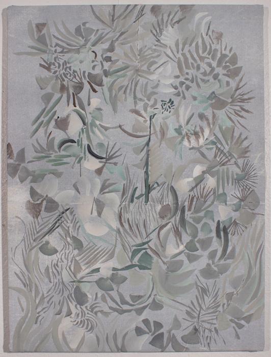 Grey Garden  17.5 x 13, image transfer, silk, metal frame, gouache