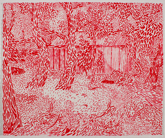 Red Shed  11.5 x 13.5, ink on paper