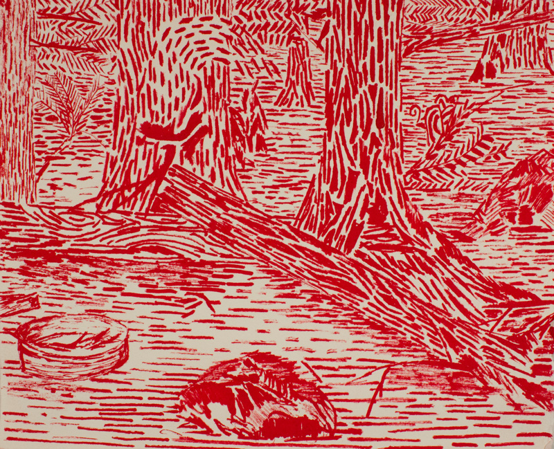 Red Woods  11.5 x 13.5, ink on paper