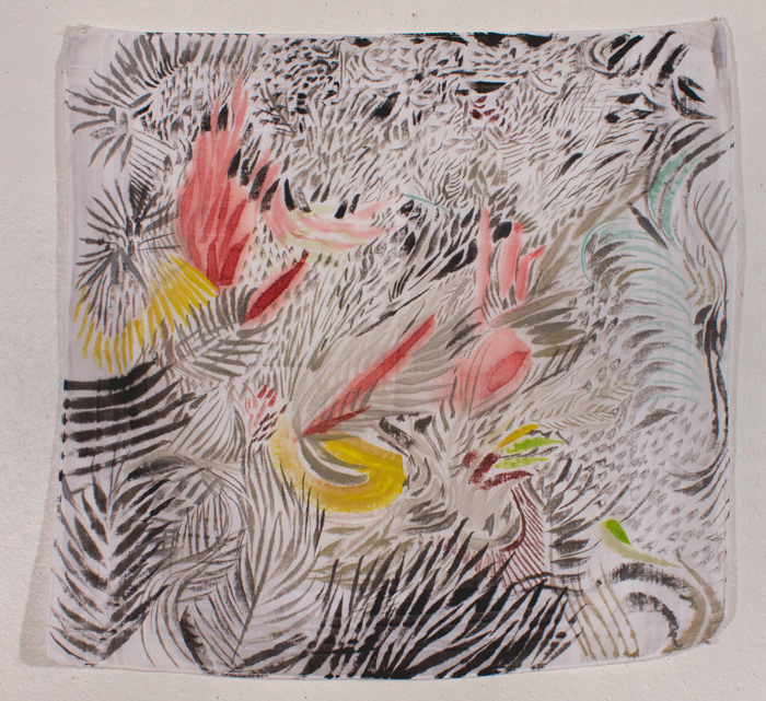 Thicket  13 x 13, gouache on cotton handkerchief
